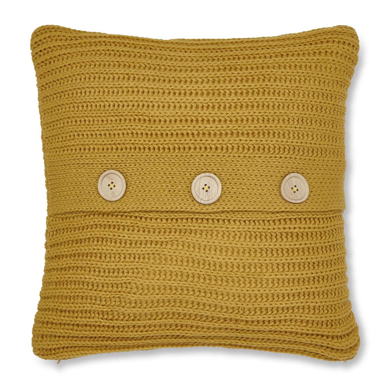 Chunky Knit Ochre Cushion