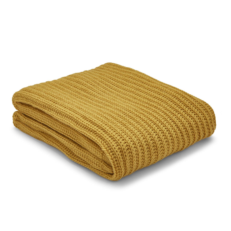 Chunky Knit Ochre Throw