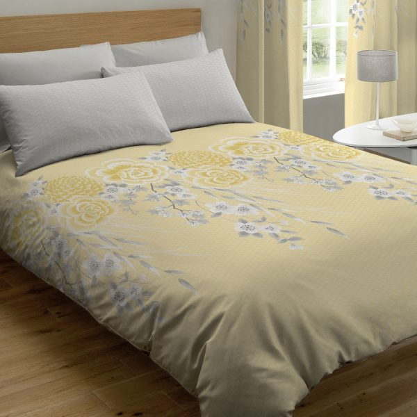 Oriental Blossom Capa de Edredão Amarelo Catherine Lansfield