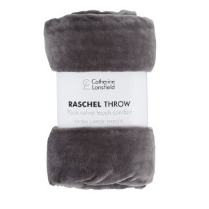 Raschel Velvet Manta Cinza Escuro Catherine Lansfield